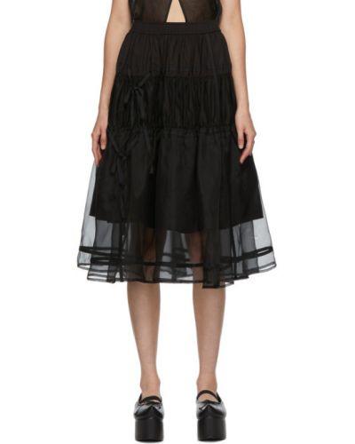 Ватная черная юбка из поплина Renli Su