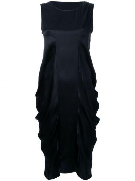 Черное шелковое плиссированное платье Nehera