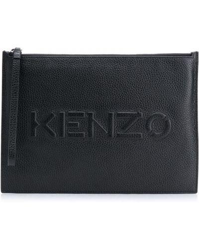 Bawełna z paskiem skórzany czarny torba sprzęgło Kenzo