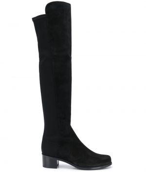 Замшевые черные сапоги без каблука на каблуке круглые Stuart Weitzman