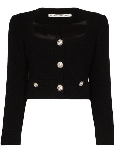 Черный пиджак твидовый с карманами Alessandra Rich