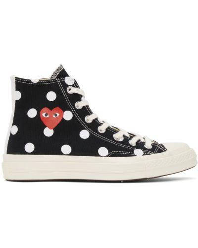 Ażurowy brezentowy czarny wysoki sneakersy na sznurowadłach Comme Des Garcons Play