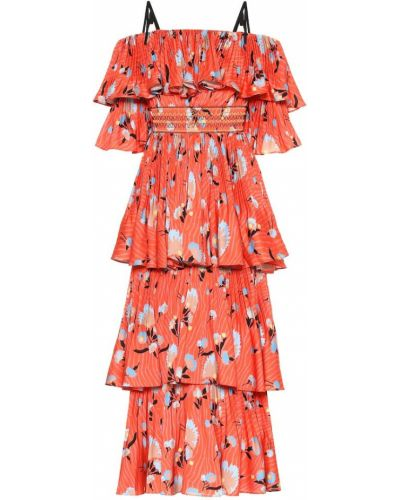 Летнее платье миди с цветочным принтом Self-portrait