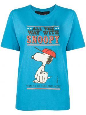Хлопковая синяя рубашка с коротким рукавом с короткими рукавами с круглым вырезом Marc Jacobs
