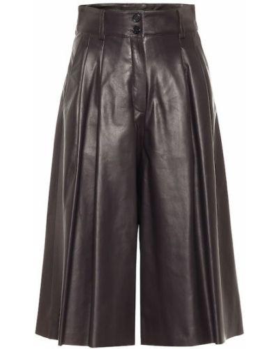 Skórzany brązowy spodnie culotte Dolce And Gabbana