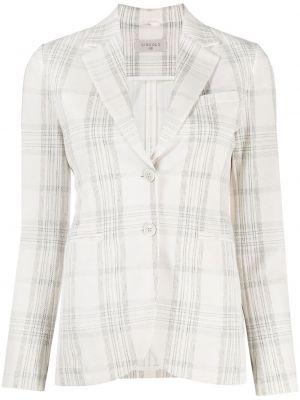 Белый удлиненный пиджак в клетку с карманами Circolo 1901