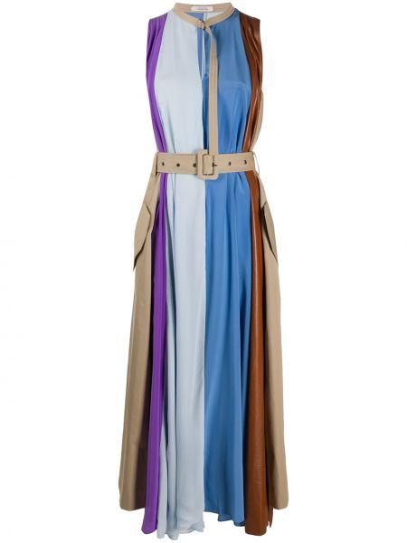 Синее шелковое платье без рукавов с завязками Dorothee Schumacher