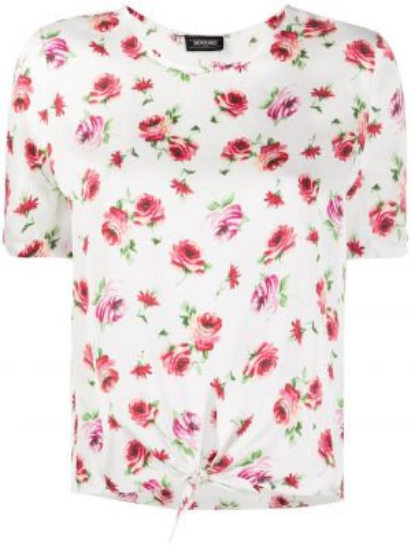 T-shirt z wiskozy krótki rękaw z printem Simonetta Ravizza
