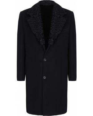 Черное длинное пальто с воротником на пуговицах с карманами Castangia