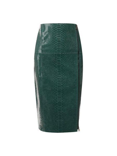 Кожаная бежевая юбка миди в рубчик на молнии No. 21