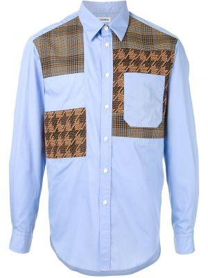 Синяя прямая рубашка с воротником с карманами Coohem