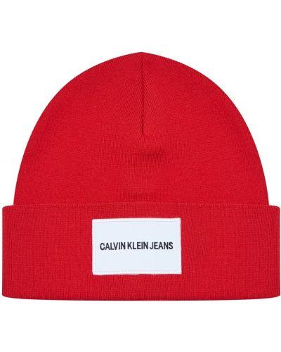 Вязаная шапка с отворотом в полоску Calvin Klein