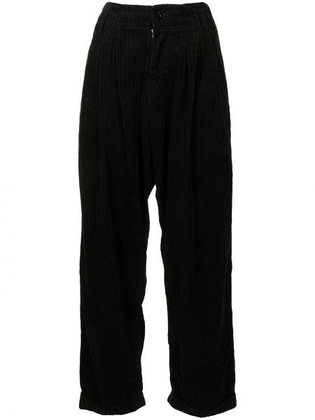 Czarne spodnie z wysokim stanem sztruksowe Ymc