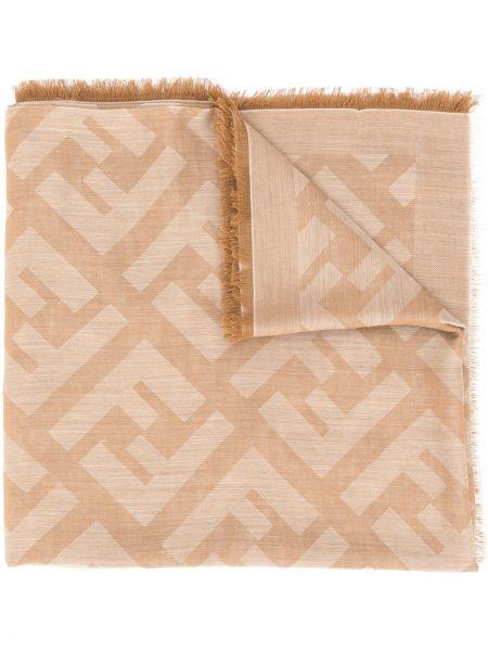 Bawełna kaszmir różowy szalik z logo Fendi