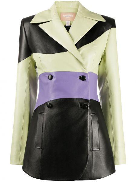 Черный кожаный пиджак двубортный Matériel