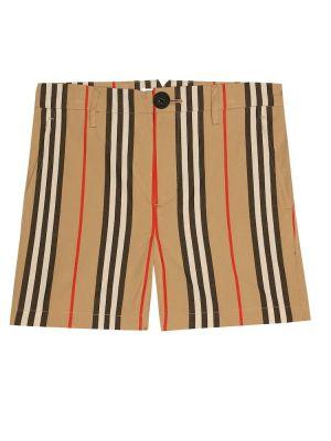 Короткие шорты бежевые с заплатками Burberry Kids