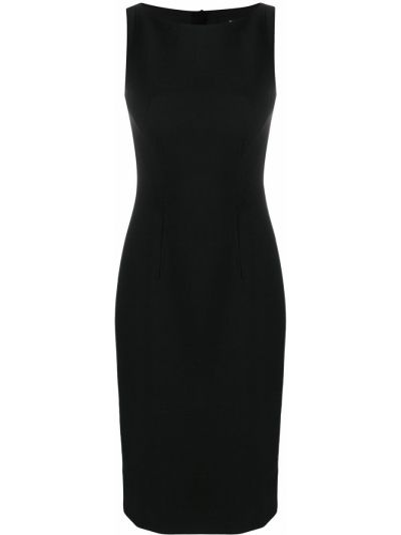 Черное приталенное платье миди без рукавов из вискозы Paule Ka