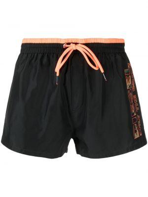 Пляжные черные плавки-боксеры с карманами Diesel