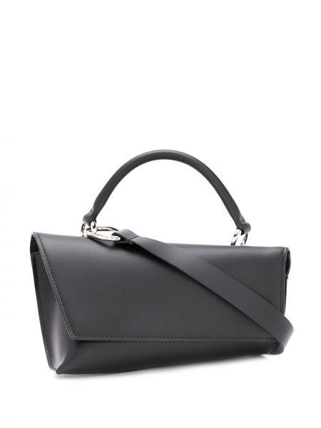 Кожаная черная сумка через плечо с перьями Venczel