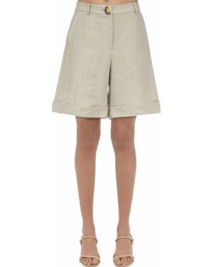 Льняные шорты с карманами с манжетами Rejina Pyo