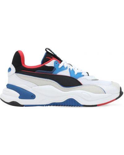 Ażurowy skórzany biały sneakersy na sznurowadłach Puma Select