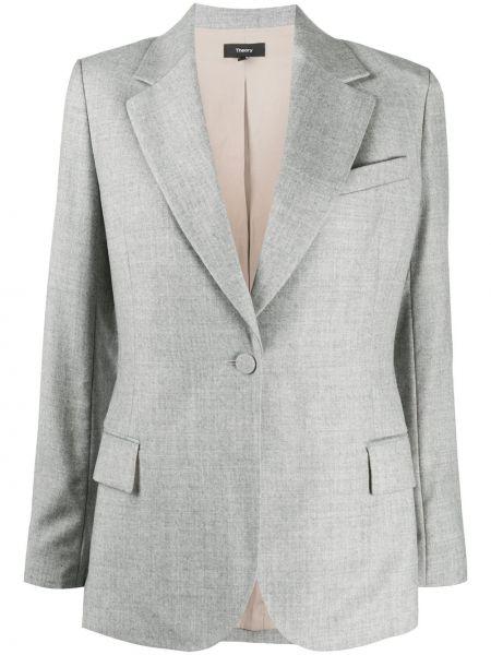Серый шерстяной классический пиджак с карманами на пуговицах Theory