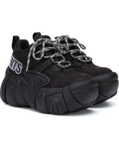 Кожаные кроссовки на платформе черные Vetements