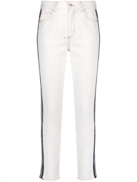 Облегающие кожаные белые джинсы-скинни Alexander Mcqueen
