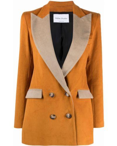 Коричневый пиджак из полиэстера Hebe Studio