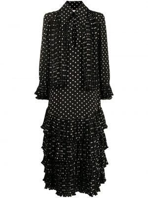 Шелковое черное платье миди в горошек Khaite