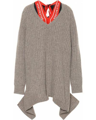 Beżowy wełniany sweter z dekoltem w szpic Balenciaga