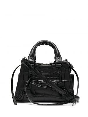 Черная кожаная сумка-тоут круглая Balenciaga