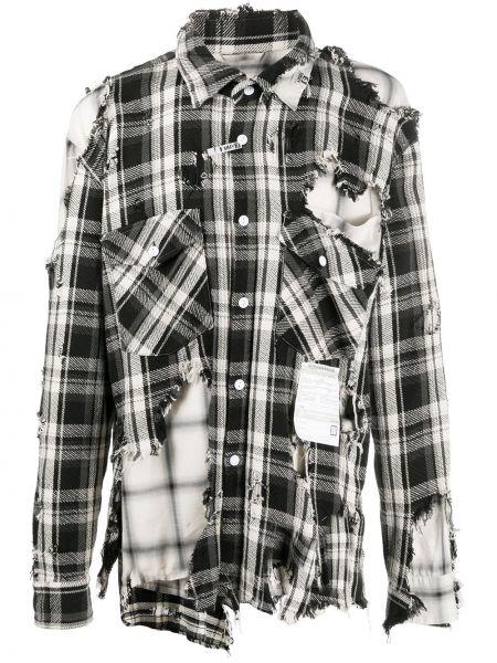 Асимметричная черная рубашка на пуговицах с карманами Maison Mihara Yasuhiro