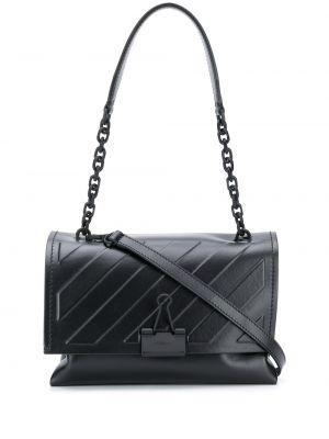 Кожаная черная сумка на плечо с тиснением Off-white