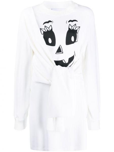 С рукавами белое платье макси с вырезом Moschino