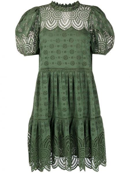 Sukienka mini zielona z wiskozy Ulla Johnson