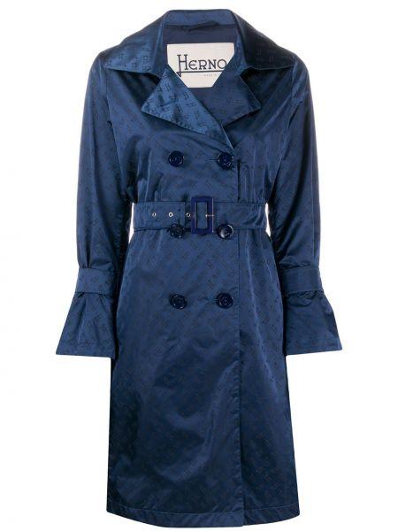 Długi płaszcz z kieszeniami niebieski Herno