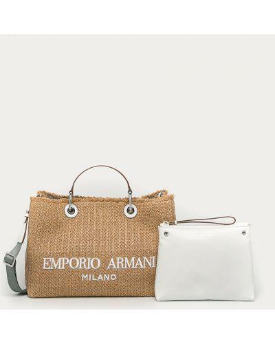 Beżowa torebka duża bawełniana Emporio Armani