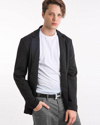 Прямой черный пиджак с воротником Mark Formelle