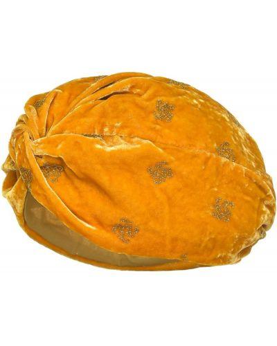 Żółty jedwab turban z brokatem Pinko