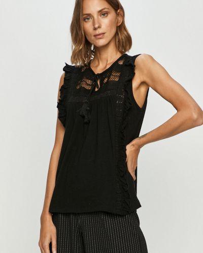Czarna bluzka z falbanami bez rękawów Vero Moda