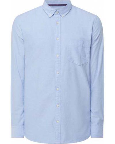 Niebieska koszula slim z długimi rękawami Montego