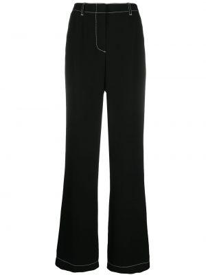 Czarne spodnie z wysokim stanem z paskiem Escada