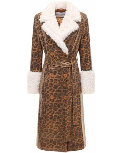 Коричневое кожаное пальто с воротником Stand Studio