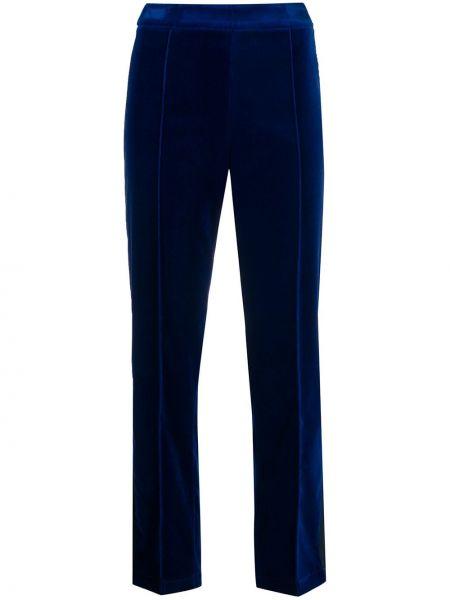 Бархатные синие укороченные брюки с поясом на молнии Hebe Studio