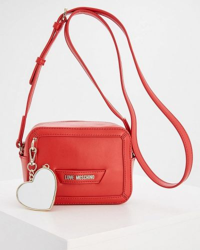 Красная сумка через плечо Love Moschino