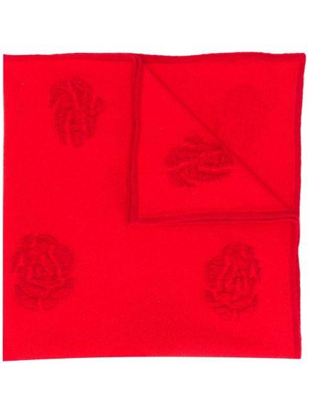 Красный шерстяной шарф с рисунком квадратный Barrie