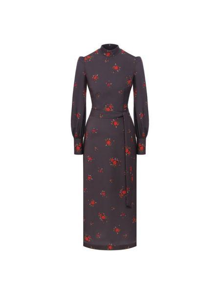 Приталенное шелковое серое платье миди с воротником A La Russe