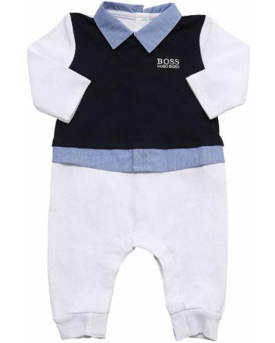 Z rękawami bawełna niebieski pajacyk z mankietami Hugo Boss