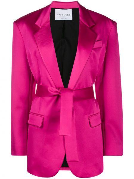 Розовый классический пиджак с поясом с воротником Hebe Studio